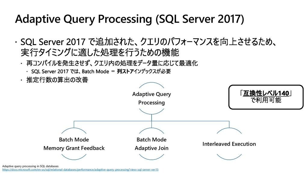 Adaptive Query Processing (SQL Server 2017) Ada...