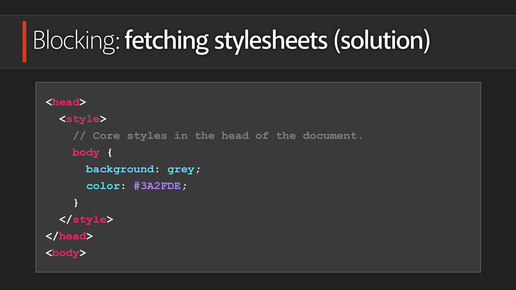 Blocking: fetching stylesheets (solution) <head...
