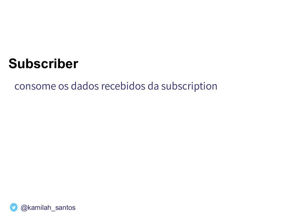 Subscriber consome os dados recebidos da subscr...