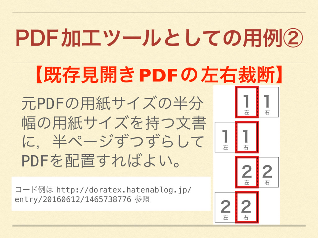 1%'  Ճπʔϧͱͯ͠ͷ༻ྫᶄ ʲطଘݟ։͖ PDF ͷ ࠨӈࡋஅʳ ݩPDFͷ༻ࢴαΠ...