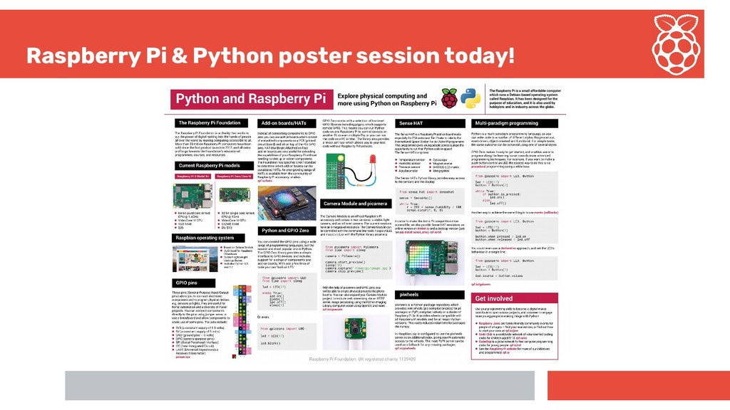 Raspberry Pi & Python poster session today!