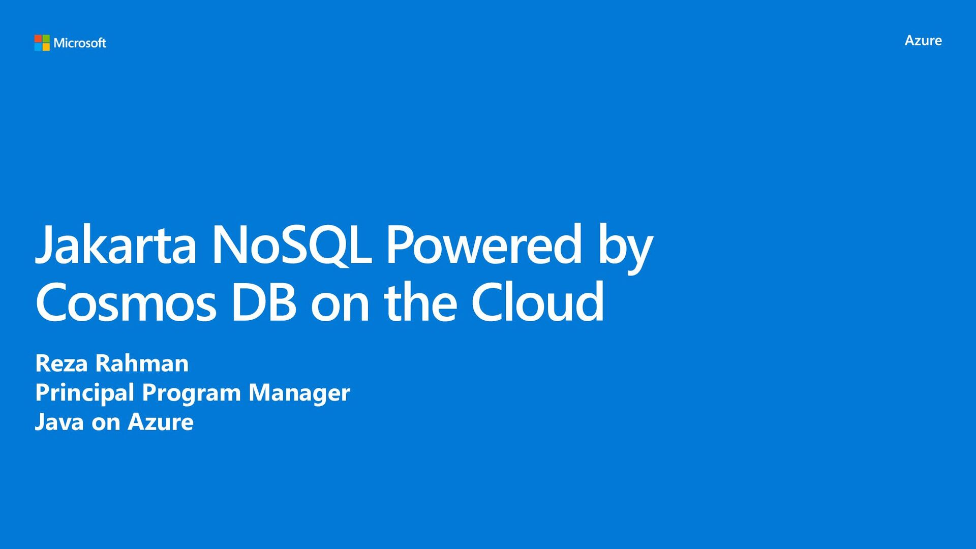 Jakarta NoSQL Powered by Cosmos DB on the Cloud...