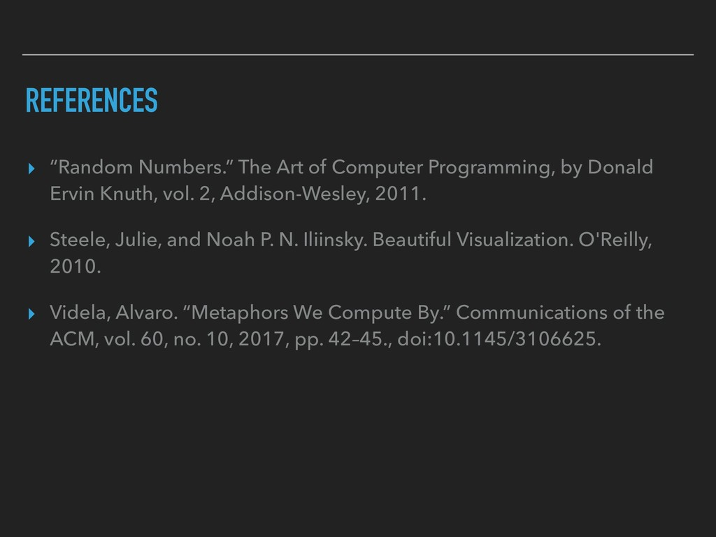 """REFERENCES ▸ """"Random Numbers."""" The Art of Compu..."""