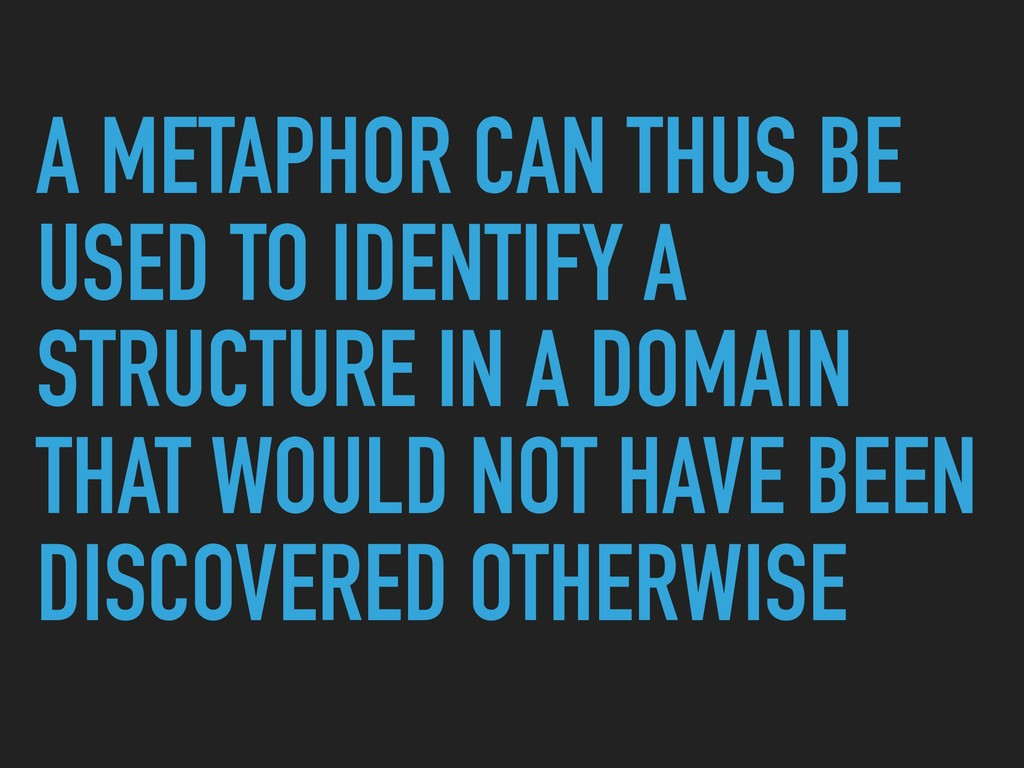 A METAPHOR CAN THUS BE USED TO IDENTIFY A STRUC...