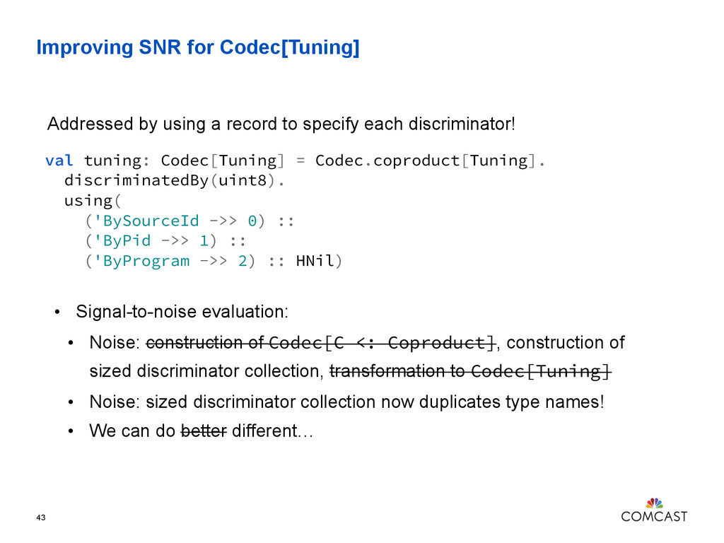 Improving SNR for Codec[Tuning] 43 val tuning: ...