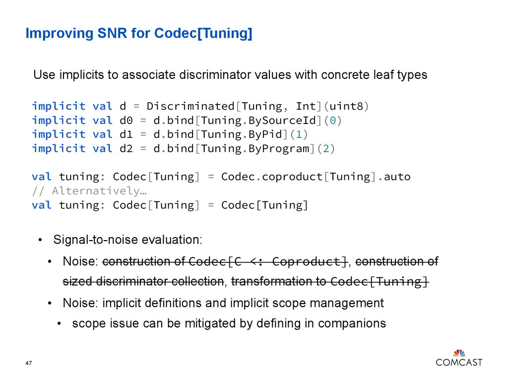 Improving SNR for Codec[Tuning] 47 implicit val...