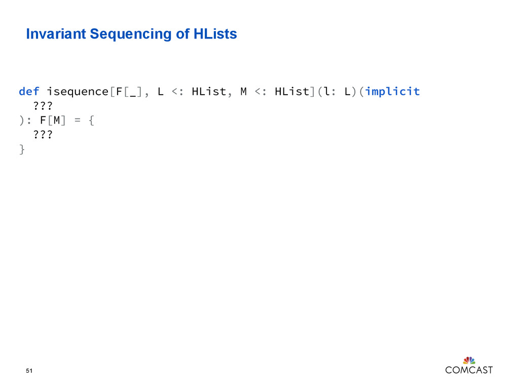 Invariant Sequencing of HLists 51 def isequence...