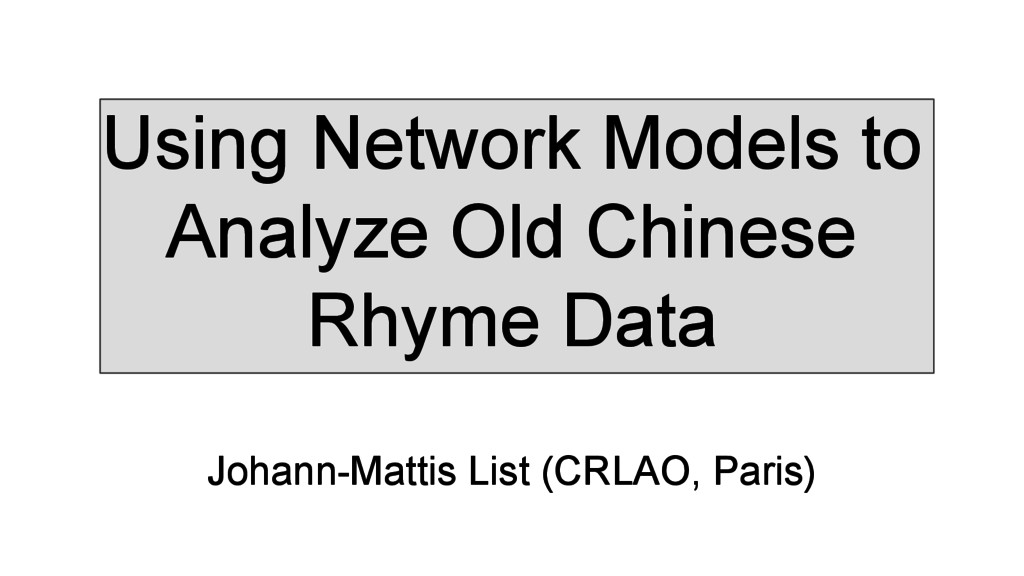 Using Network Models to Analyze Old Chinese Rhy...
