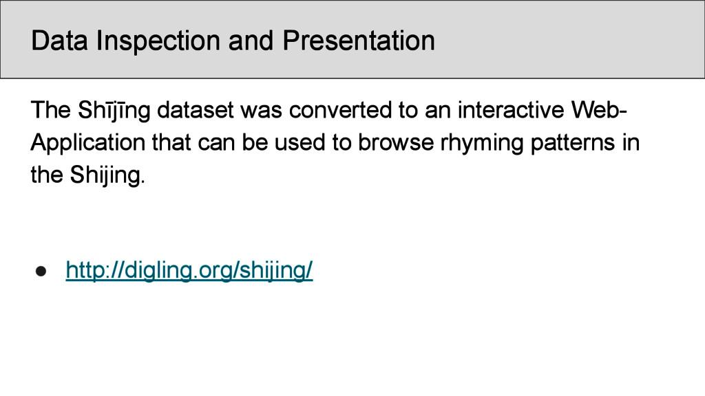 Data Inspection and Presentation The Shījīng da...
