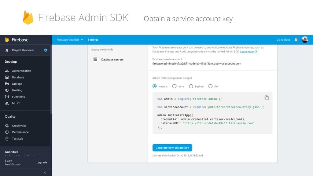 Obtain a service account key Firebase Admin SDK