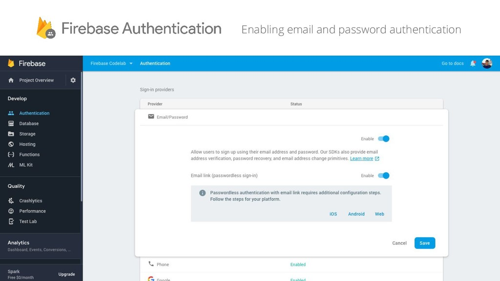 Enabling email and password authentication
