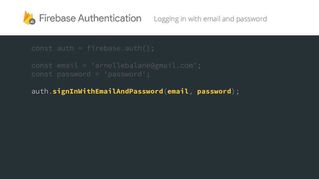 Logging in with email and password signInWithEm...