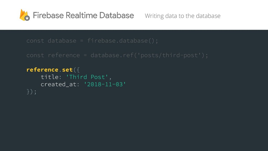 Writing data to the database reference set