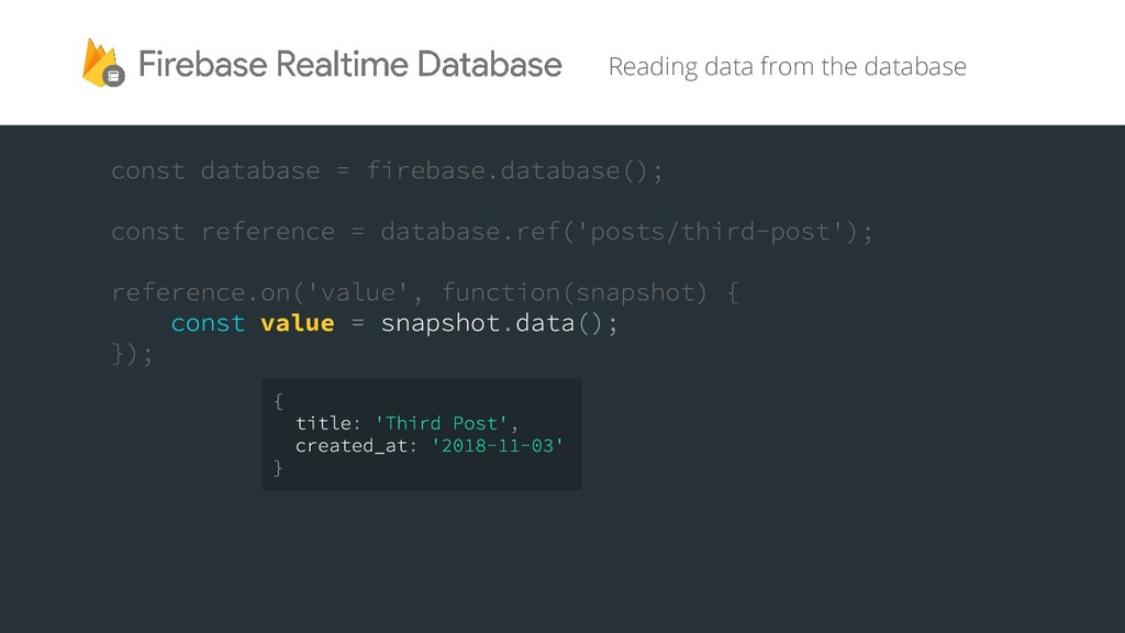 value Reading data from the database