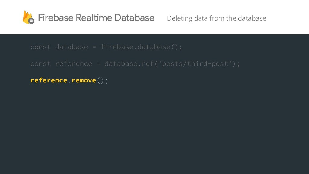Deleting data from the database reference remove
