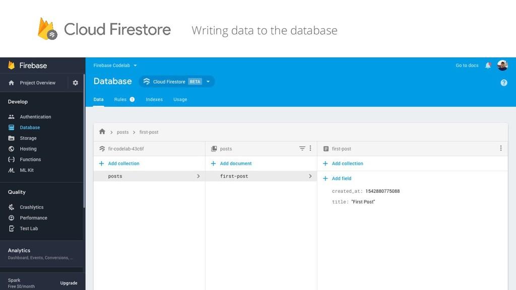 Writing data to the database