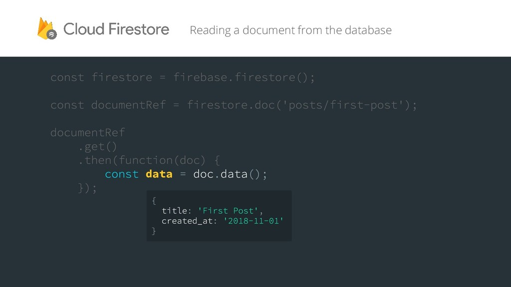 Reading a document from the database data