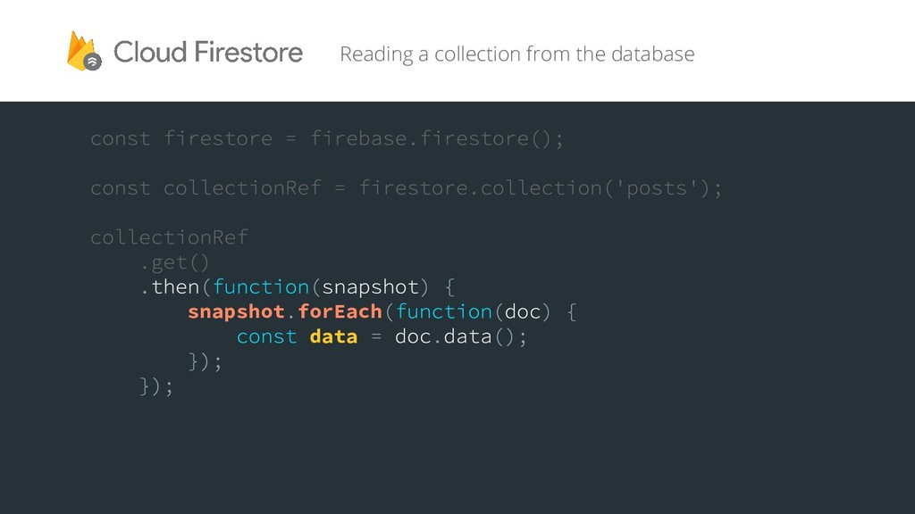 snapshot forEach data Reading a collection from...