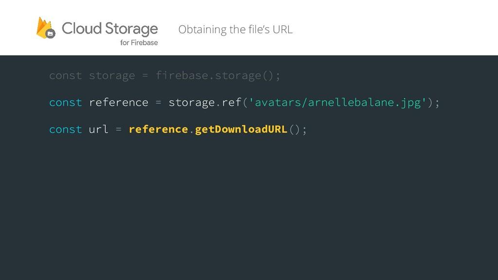 reference getDownloadURL Obtaining the file's U...