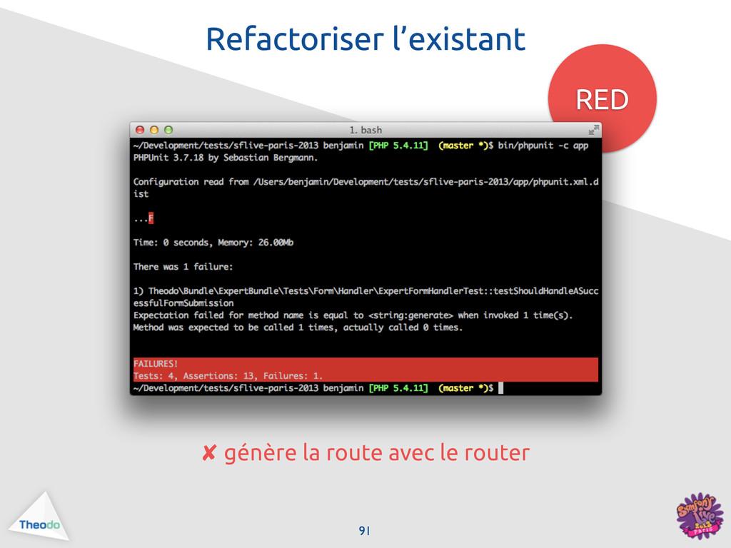 RED 91 Refactoriser l'existant ✘ génère la rout...