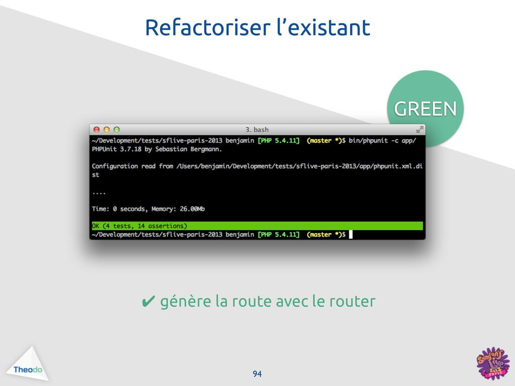 GREEN 94 Refactoriser l'existant ✔ génère la ro...