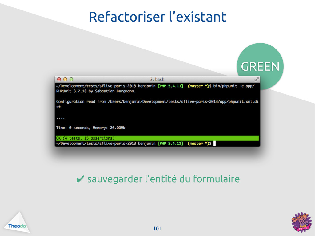 101 GREEN Refactoriser l'existant ✔ sauvegarder...