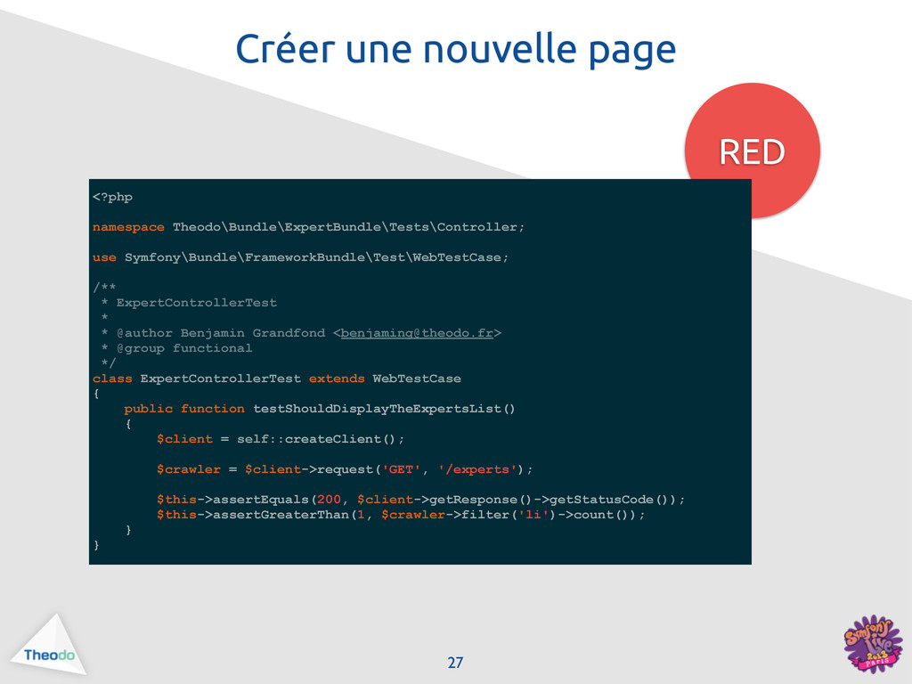 Créer une nouvelle page RED 27 <?php namespace ...