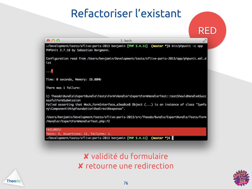 RED 76 Refactoriser l'existant ✘ validité du fo...
