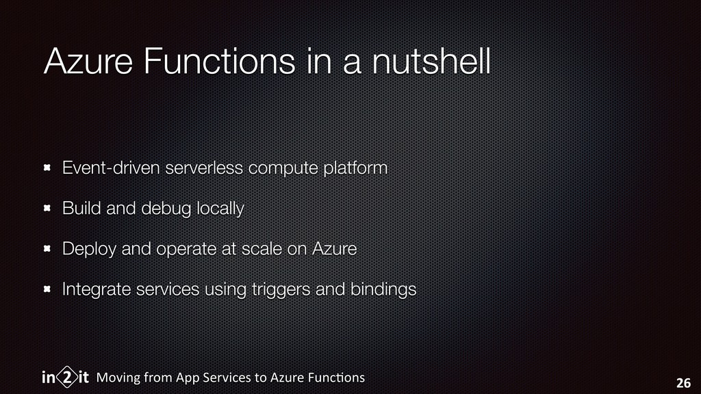 Azure Functions in a nutshell Event-driven serv...
