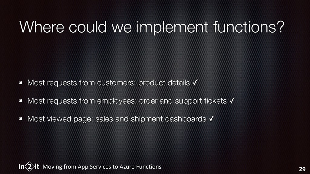 Where could we implement functions? Most reques...
