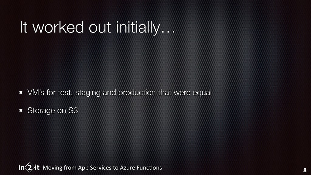 It worked out initially… VM's for test, staging...