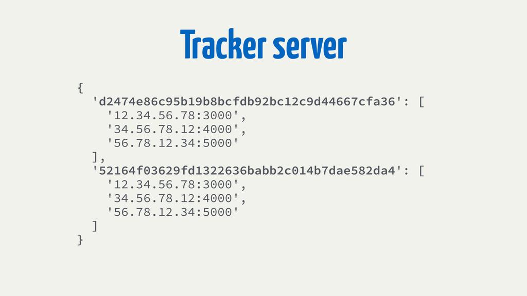 Tracker server { 'd2474e86c95b19b8bcfdb92bc12c9...