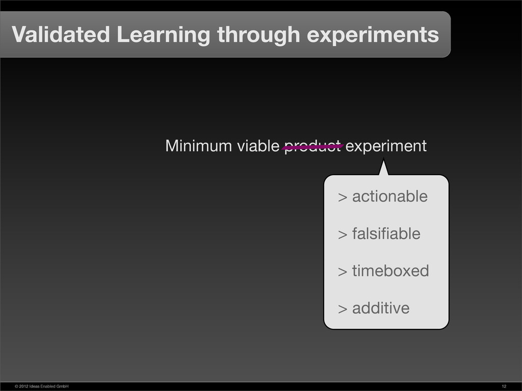 © 2012 Ideas Enabled GmbH 12 Validated Learning...
