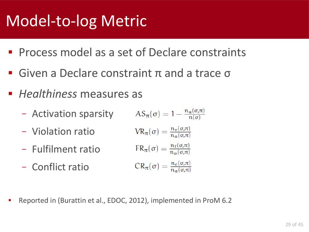29 of 45 Model-to-log Metric  Process model as...