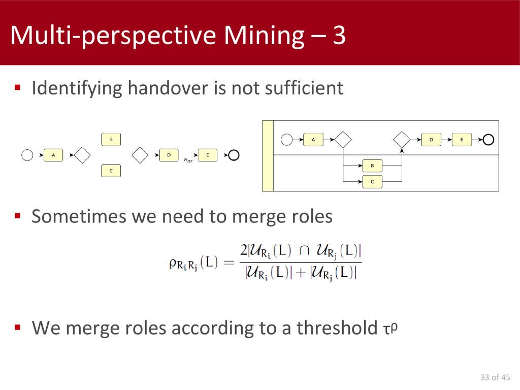 33 of 45 Multi-perspective Mining – 3  Identif...