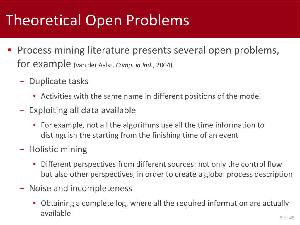 8 of 45 Theoretical Open Problems  Process min...