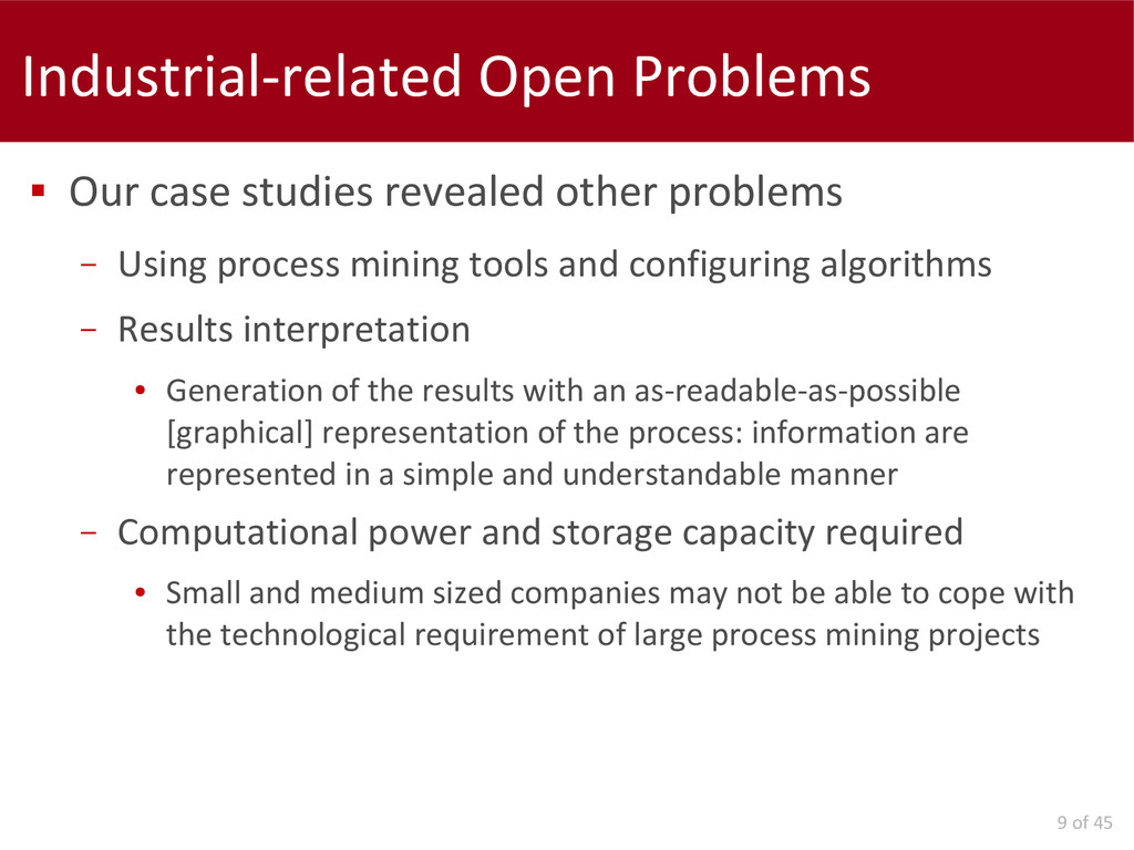 9 of 45 Industrial-related Open Problems  Our ...