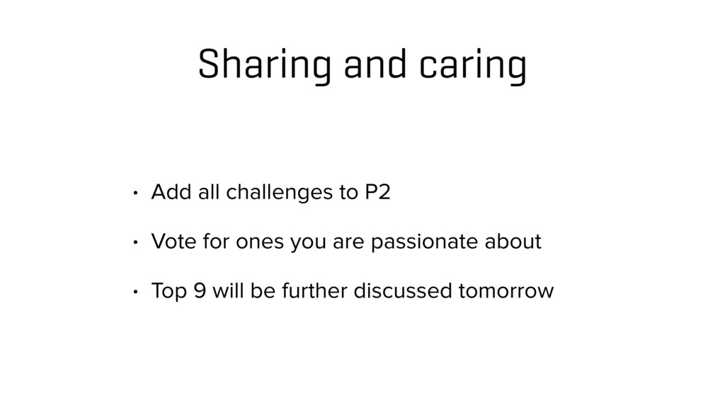 Sharing and caring • Add all challenges to P2 •...