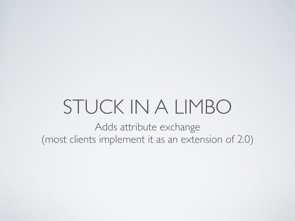 STUCK IN A LIMBO Adds attribute exchange (most ...