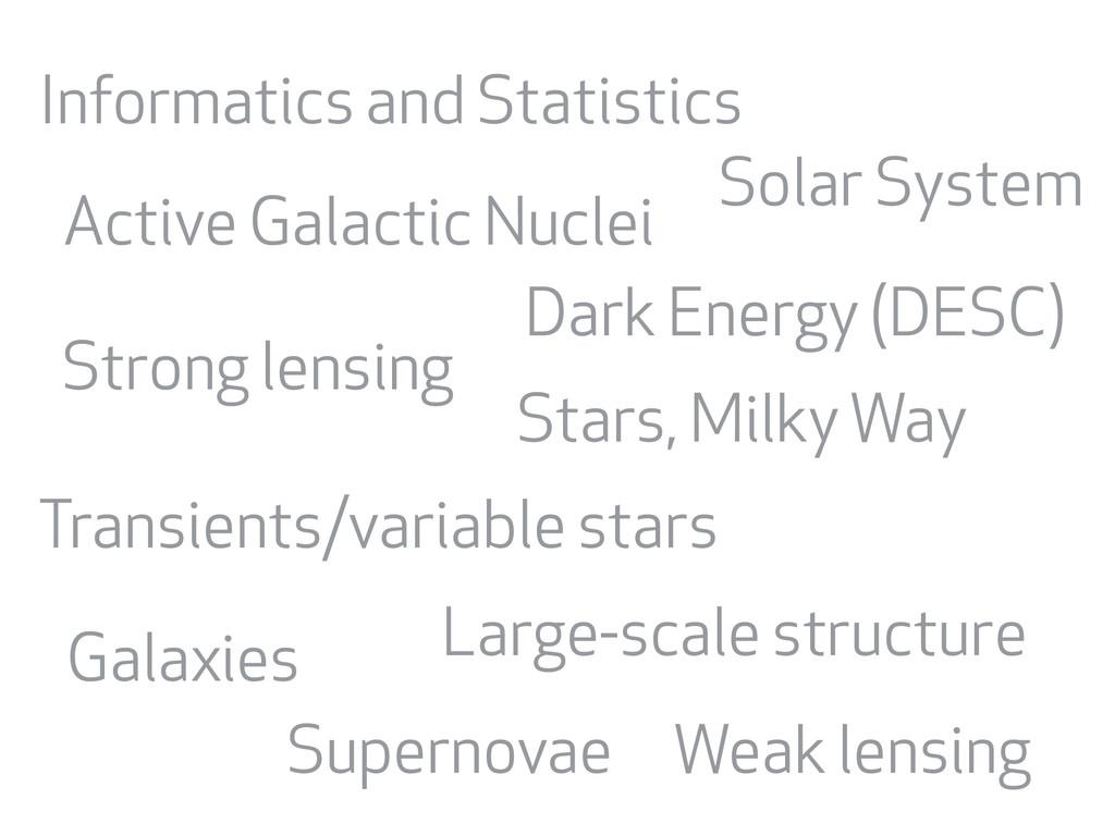 Supernovae Weak lensing Active Galactic Nuclei ...
