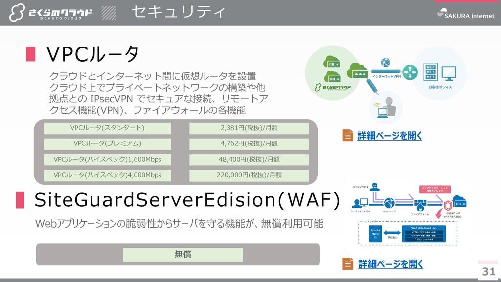 31 セキュリティ 31 ∎ VPCルータ クラウドとインターネット間に仮想ルータを設置 クラ...