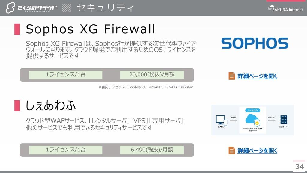 34 34 ▌Sophos XG Firewall Sophos XG Firewallは、S...