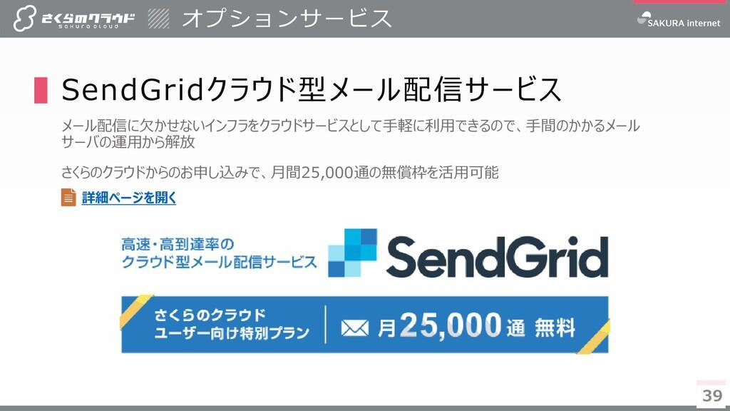 39 39 ▌SendGridクラウド型メール配信サービス メール配信に欠かせないインフラをク...