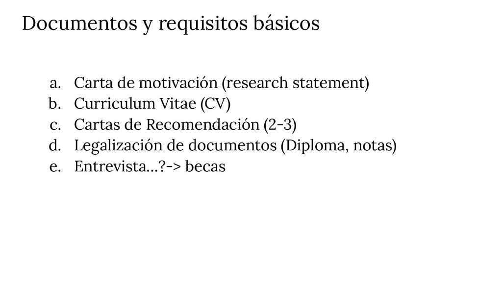 Documentos y requisitos básicos a. Carta de mot...