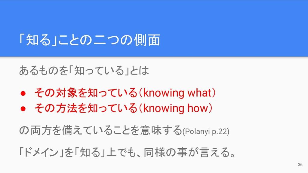「知る」ことの二つの側面 36 あるものを「知っている」とは ● その対象を知っている(kno...