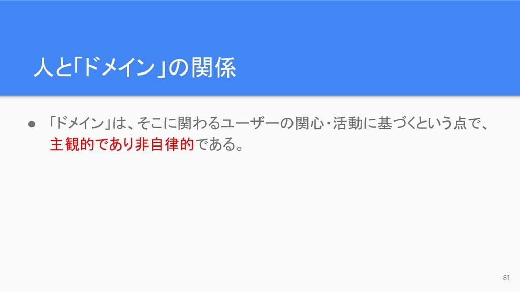 人と「ドメイン」の関係 81 ● 「ドメイン」は、そこに関わるユーザーの関心・活動に基づくとい...