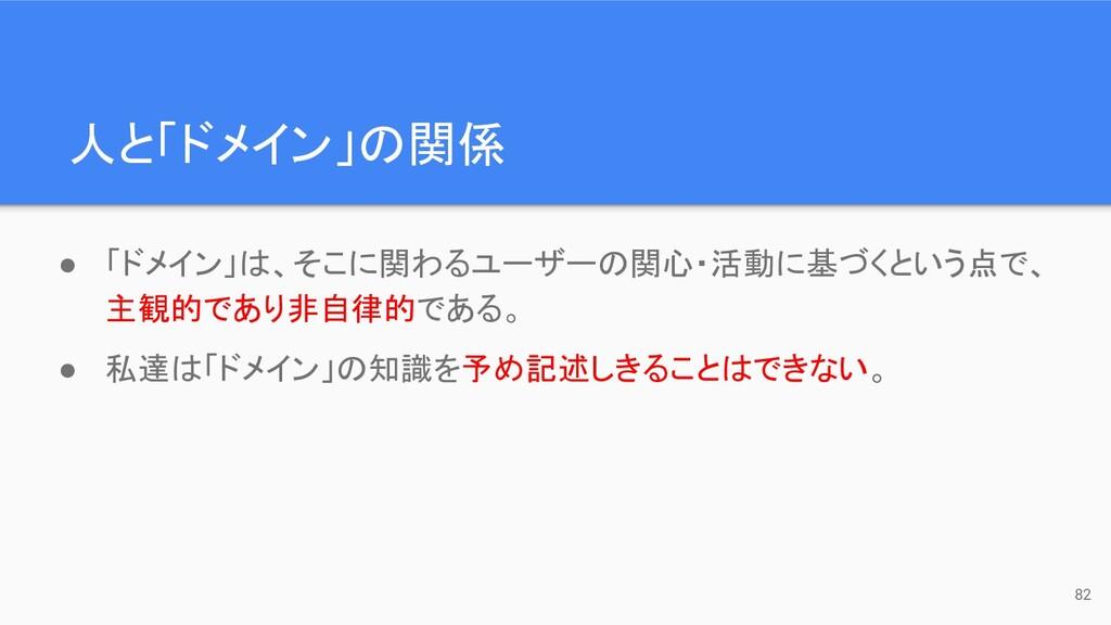 人と「ドメイン」の関係 82 ● 「ドメイン」は、そこに関わるユーザーの関心・活動に基づくとい...