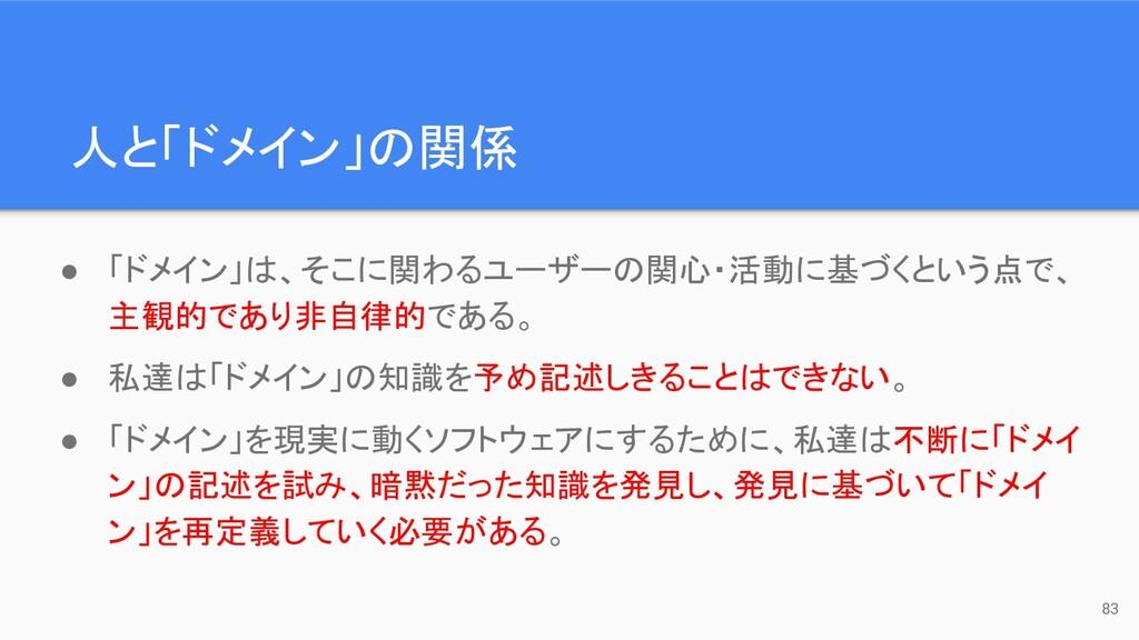 人と「ドメイン」の関係 83 ● 「ドメイン」は、そこに関わるユーザーの関心・活動に基づくとい...
