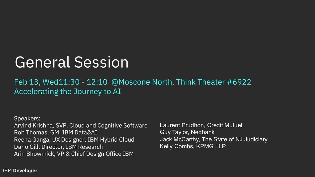 Feb 13, Wed11:30 - 12:10 @Moscone North, Think ...