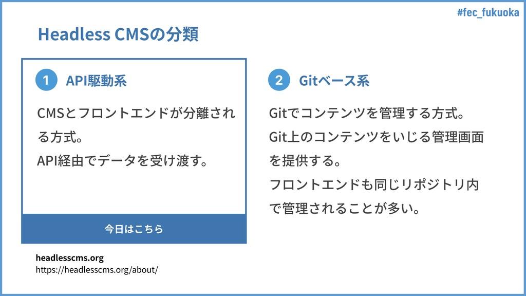 #fec_fukuoka Headless CMSの分類 1 2 API駆動系 Gitベース系...
